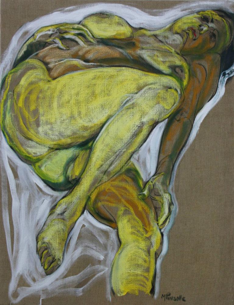 Nu jaune, nus, peinture Martine Pinsolle