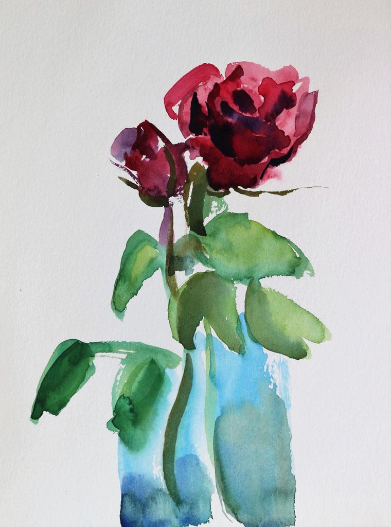 rose 5173, papiers, aquarelle, Martine Pinsolle