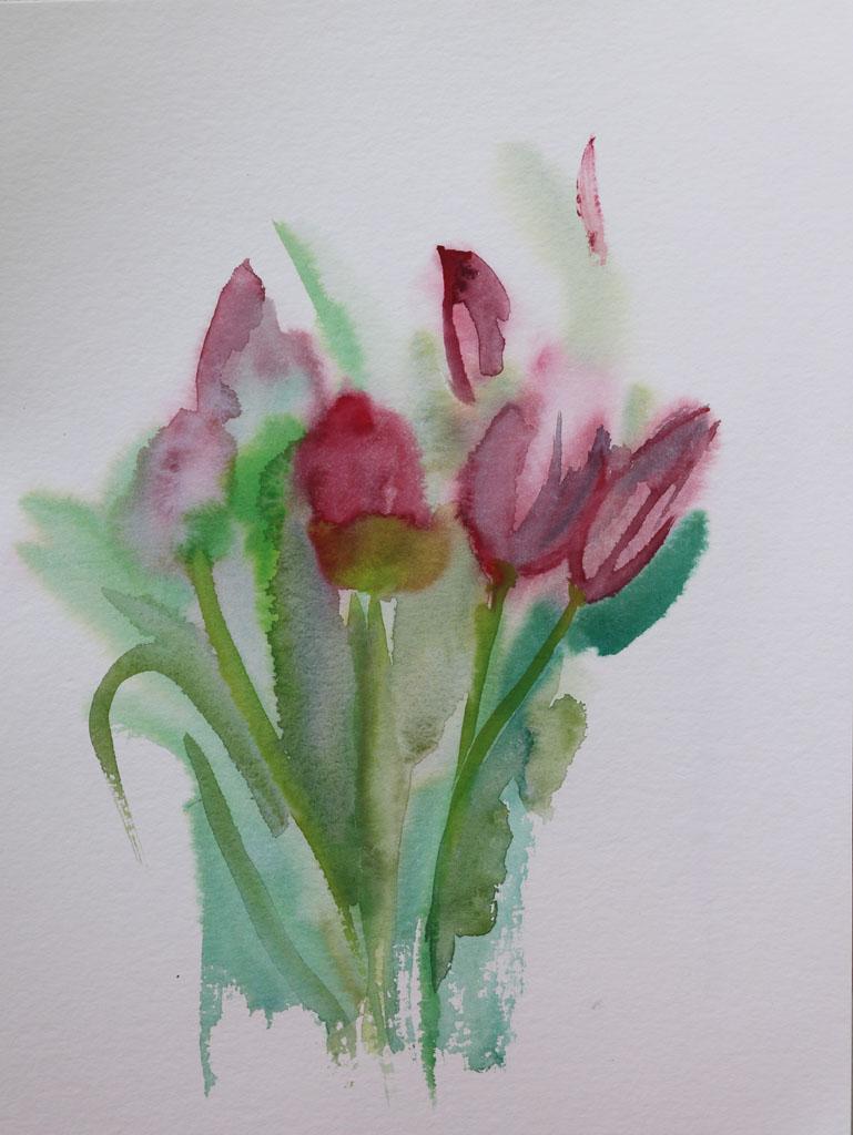 Tulipes 5189, papiers, Aquarelle, Martine Pinsolle