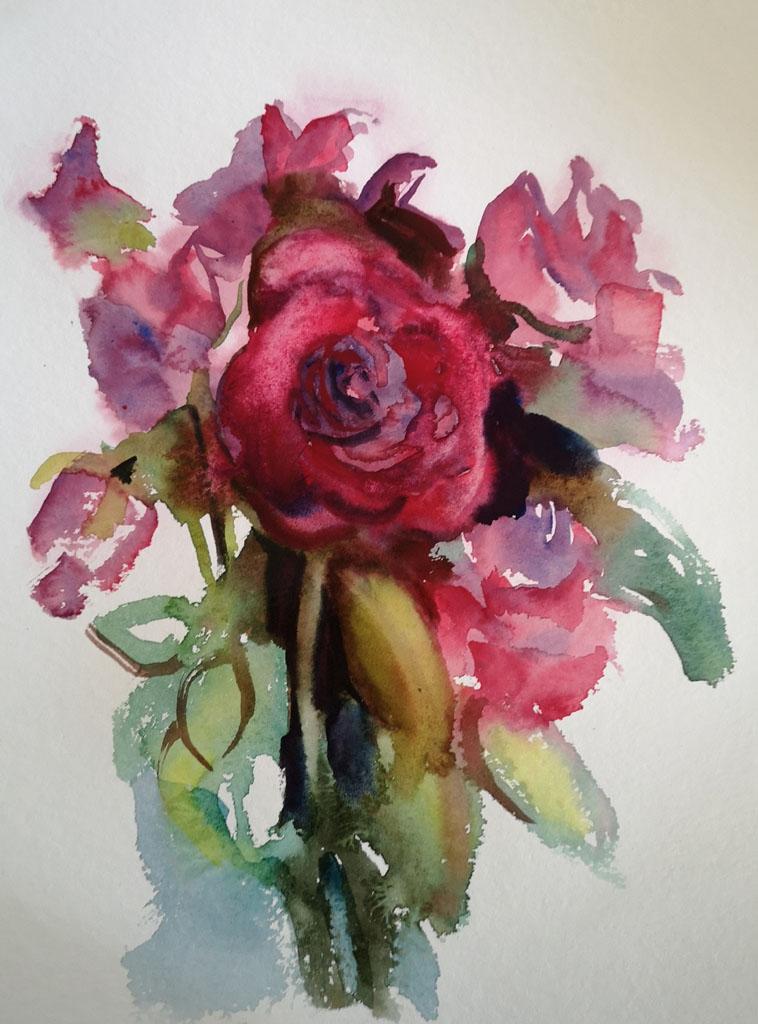 Roses 5211, papiers, Aquarelle, Martine Pinsolle