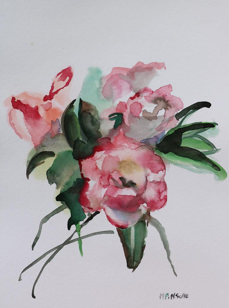 Fleurs 5215, papiers, Aquarelle, Martine Pinsolle
