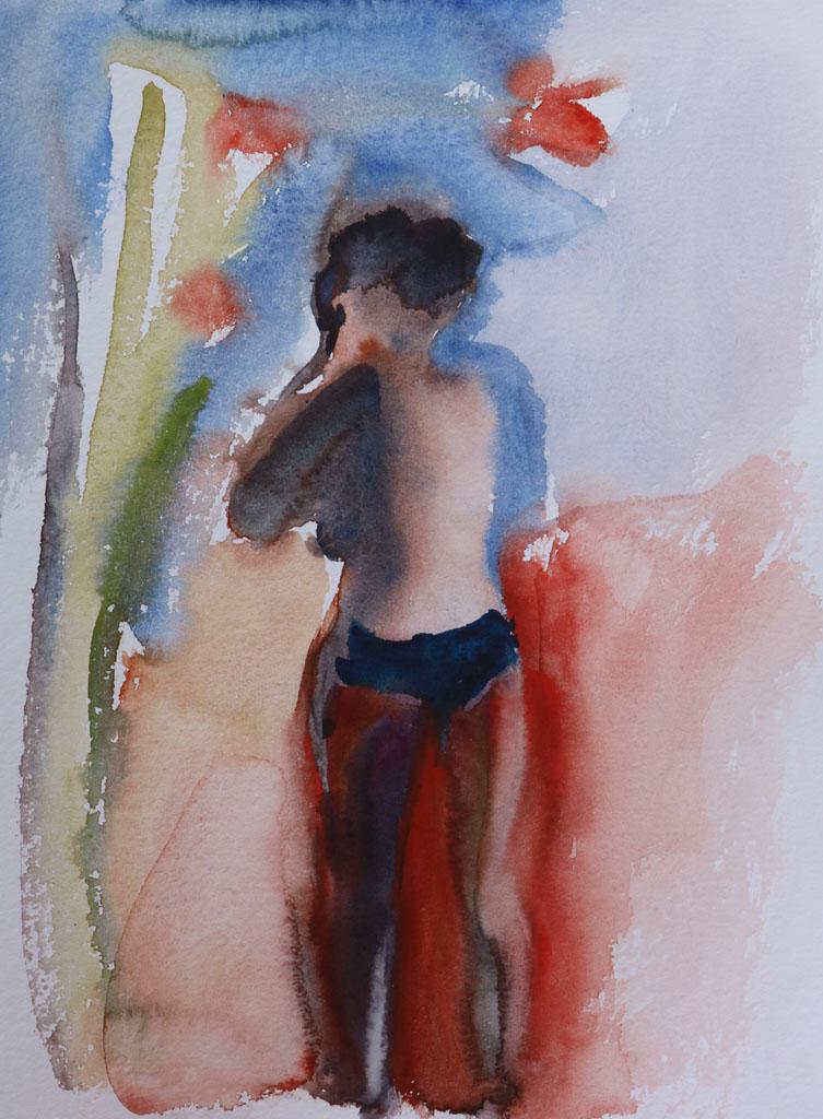Nu 5187, papiers, aquarelle, Martine Pinsolle