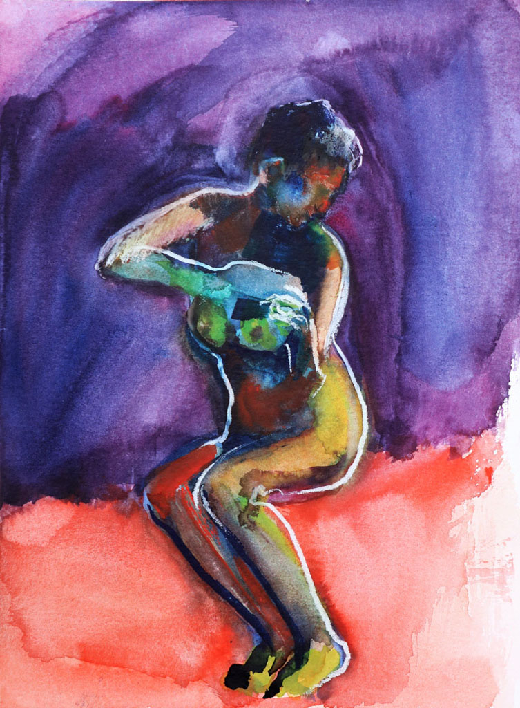 Nu 5199, papiers, aquarelle, Martine Pinsolle