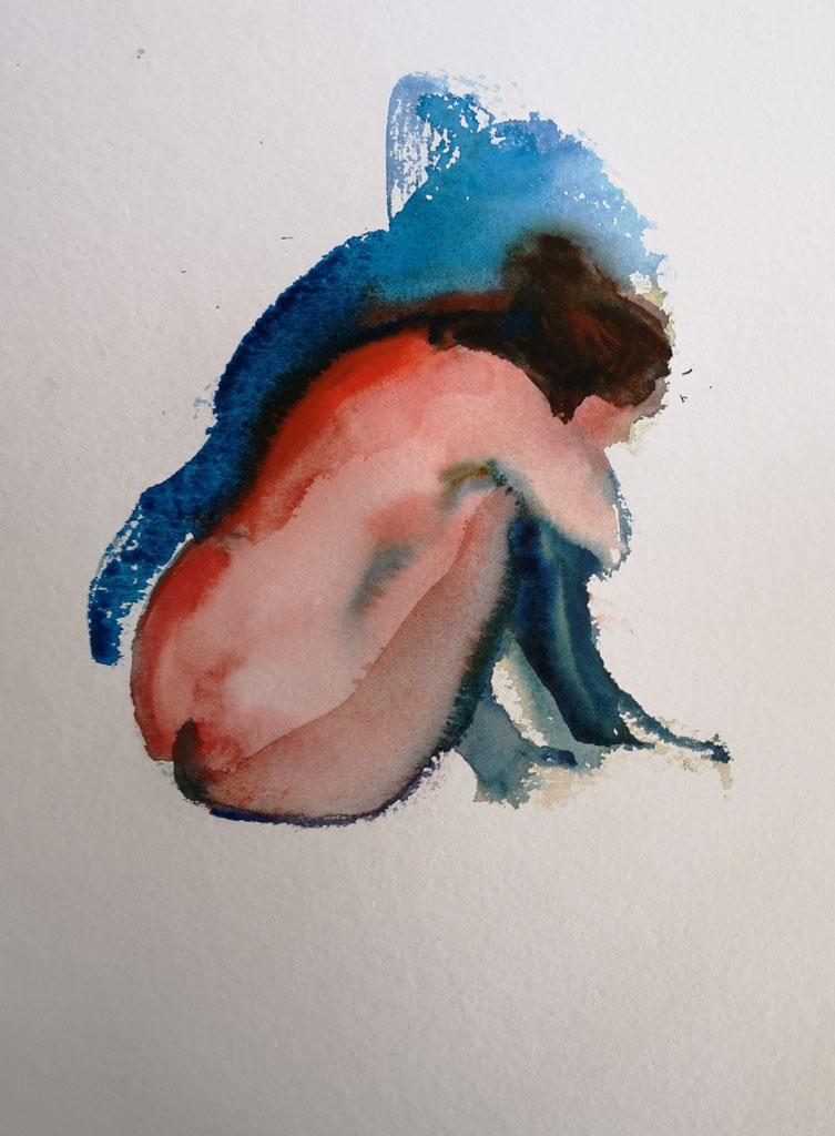 Nu 5201, papiers, aquarelle, Martine Pinsolle
