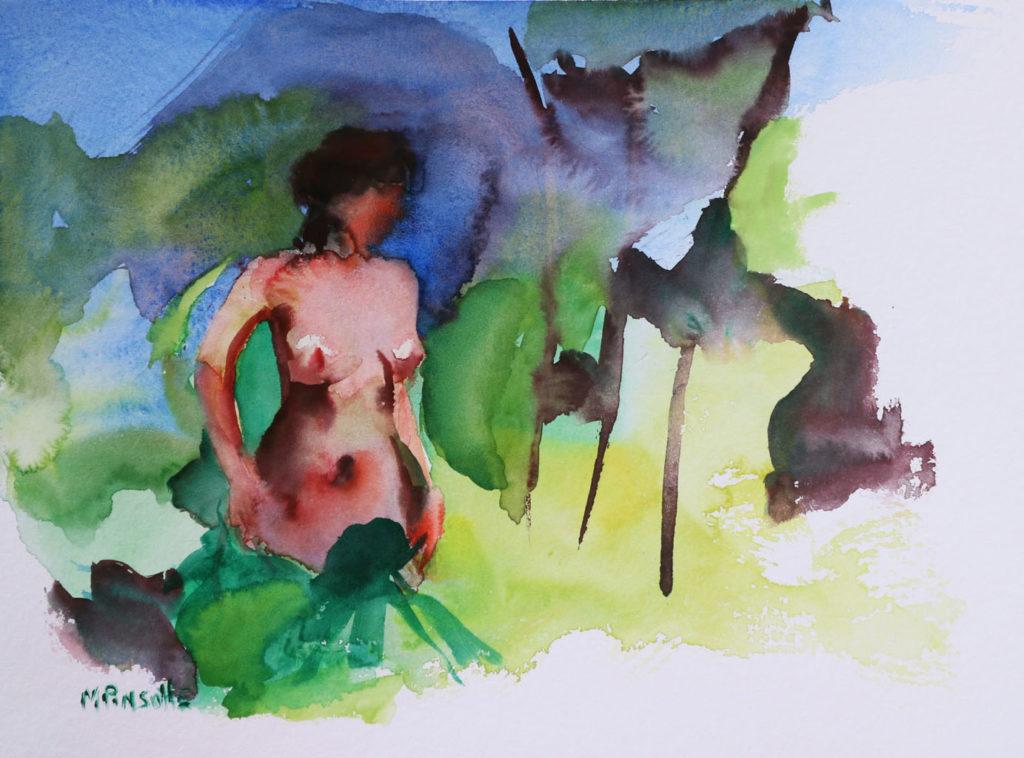 Nue dans la nature, papiers, aquarelle, Martine Pinsolle