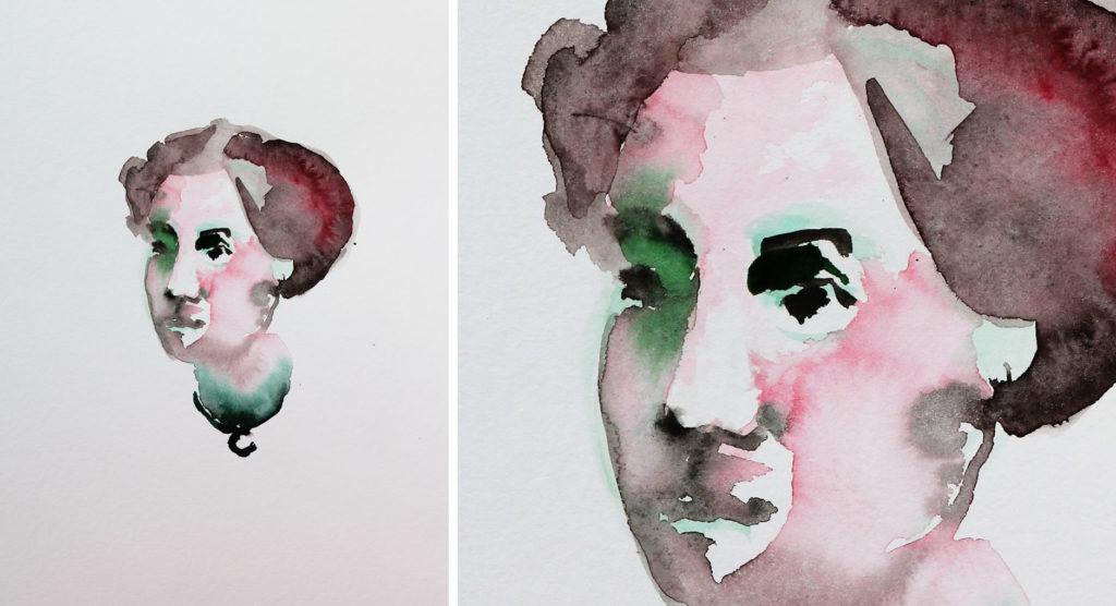 portrait 5234, papiers, aquarelle, Martine Pinsolle