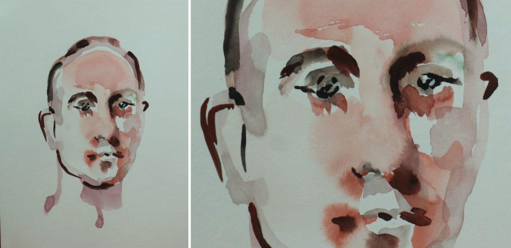 portrait 5238, papiers, aquarelle, Martine Pinsolle