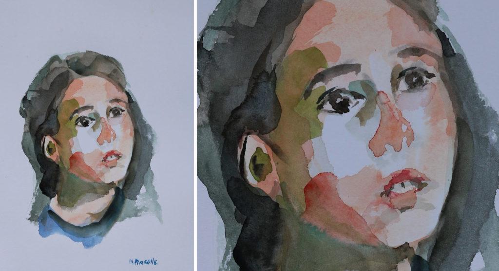 portrait 5258, papiers, aquarelle, Martine Pinsolle